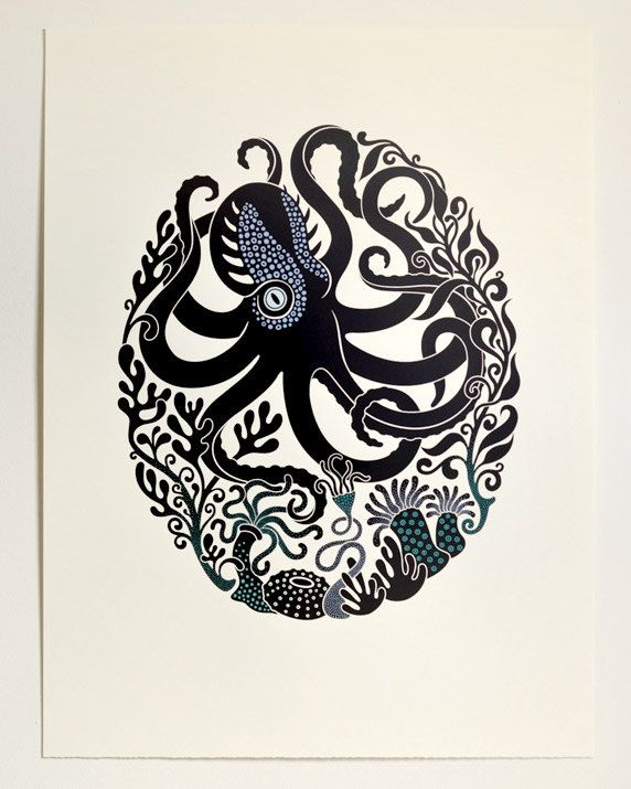 Octopus & Anemones - Limited edition four-colour screenprint with hand-painted details (and a glow-in-the-dark eye).