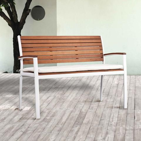 Southern Enterprises, Inc OD2714 Mandalay Outdoor Bench   With White  Aluminum Frame. Affiliate Link