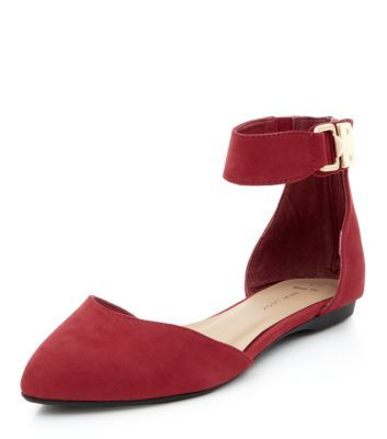 Wide Fit Red Ankle Strap Flats