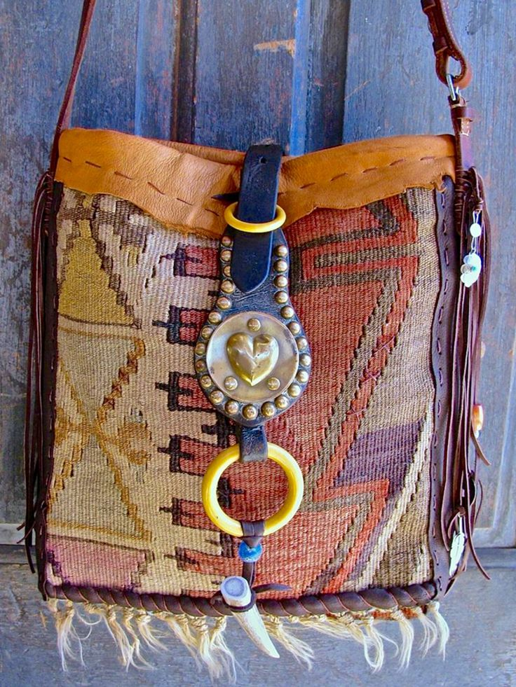 Textile and leather bag