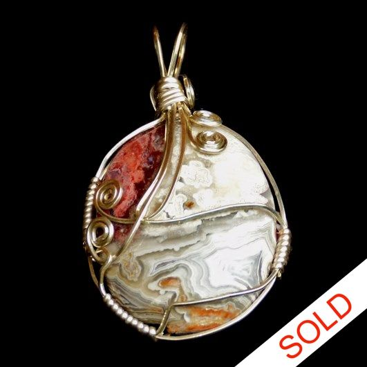 One of a kind, hand made, silver plated, wire wrapped, MEXICAN LACE AGATE pendant. Hand crafted by Kathy Stewart - Glam N Glitter Eclectic Jewelry.
