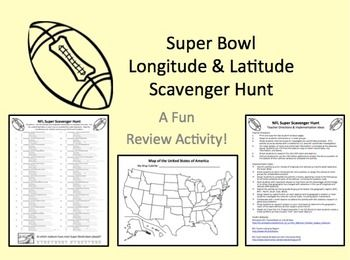 Here's a Super Bowl themed latitude and longitude activity where students trace coordinates, locate teams, and identify NFL stadiums.