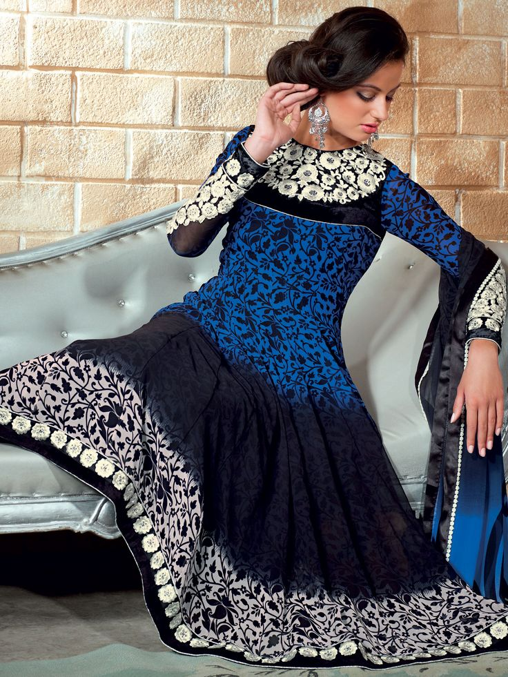 Blue and Black Faux Georgette Churidar Kameez Online Shopping: SLKWY507A. Great website for desi clothes! This outfit is $59!
