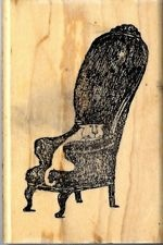 Edward Gorey Wood Mounted Rubber Stamp Comfy Cat On Chair by Kidstamps: Comfy Cat, Wood Mount, Cat Black, Gorey Wood
