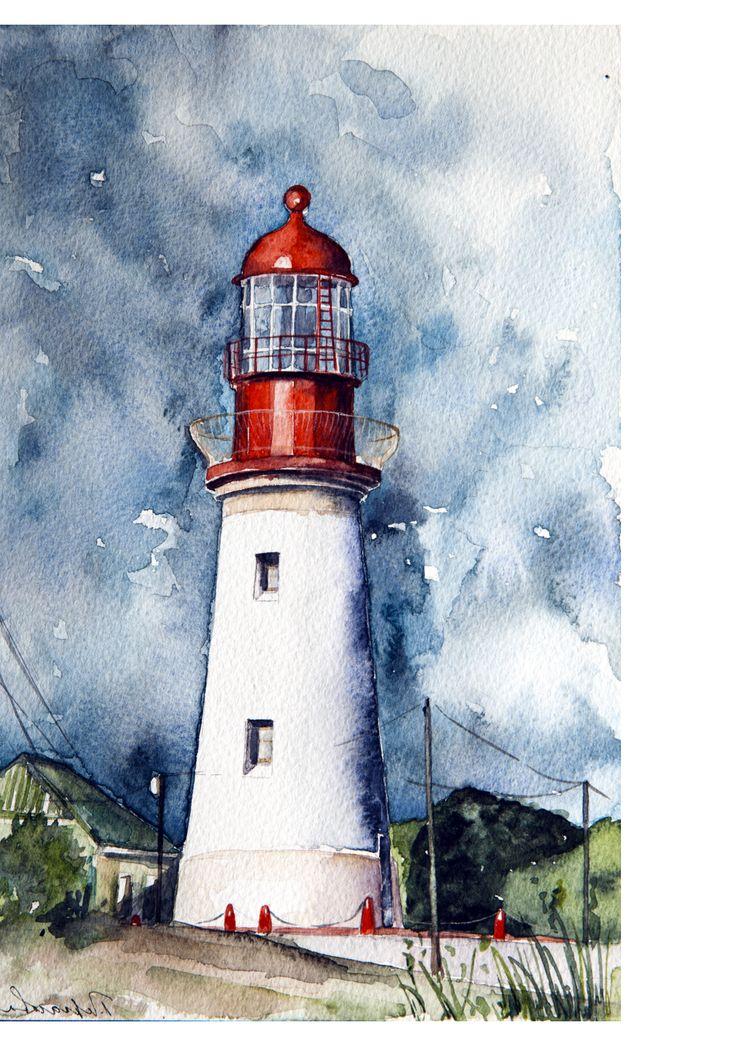 Lighthouse | Art | Маяк картины, Акварель и Акварельная ...