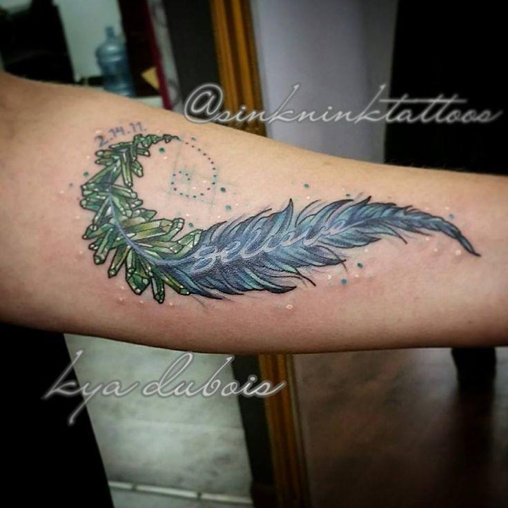 Fibonacci Spiral Tattoo: Feather And Crystal Memorial Tattoo, Fibonacci Spiral