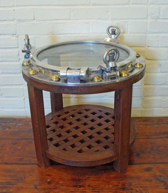 Custom Made Round Aluminum Porthole Table With Mahogany Base & Lower Grate  Shelf- Nautical Furniture - 20 Best Nautical Furniture And Furnishings Images On Pinterest