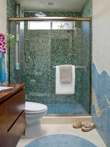 Blue and green glass mosiac shower tile idea