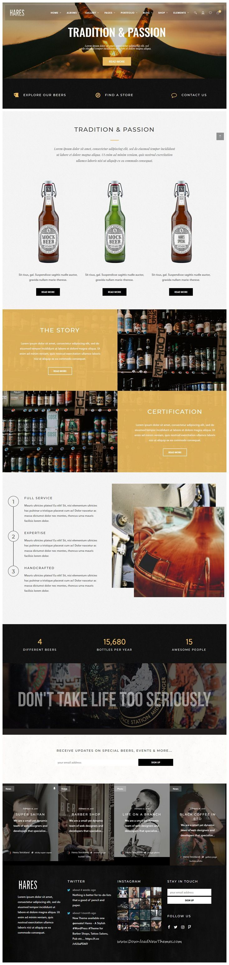 Hares is clean, stylish and modern design responsive WordPress theme for stunning #brewery and #Liquor shop #eCommerce website with 15 niche homepage layouts to live preview & download click on Visit