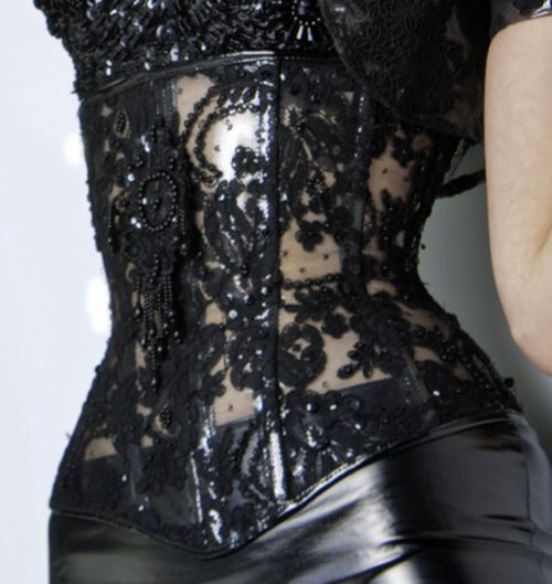 Lace Corset - black leather skirt.