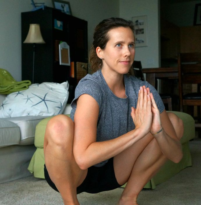 Deep squat for releasing tight hips - click for 5 other poses to undo the effects of sitting