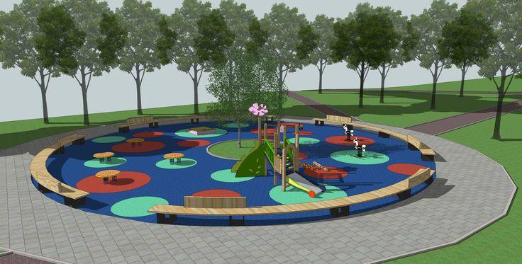 Небольшая детская площадка, которая закрыта от транзитного прохода радиусной скамьей.