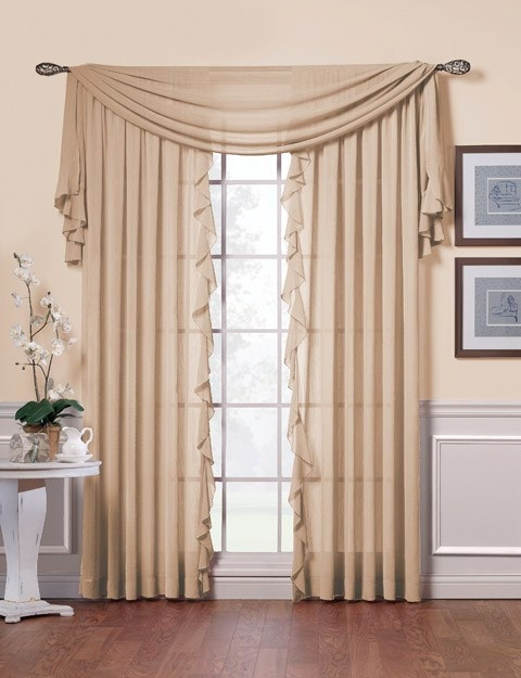 Curtains with short swag, using these for style only not color LOL!
