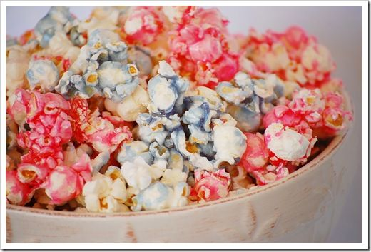 Candied Popcorn  1 cup sugar  1/2 tsp. salt  1/4 cup water  1 tsp. vanilla  6 cup popcorn (popped)  Few drops of food coloring (optional)    Boil sugar, salt and water to 235 degrees (soft ball stage).  Remove from heat.    Add vanilla.  Pour over popped popcorn and stir until glaze sugars.