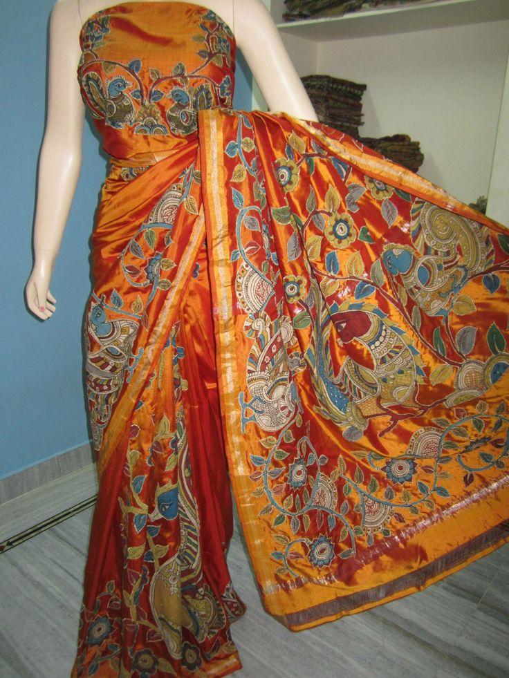 Beautiful Kalamkari pure silk sarees  https://www.facebook.com/photo.php?fbid=1415217165389421&set=a.1415216612056143.1073741829.100007034524124&type=1&theater