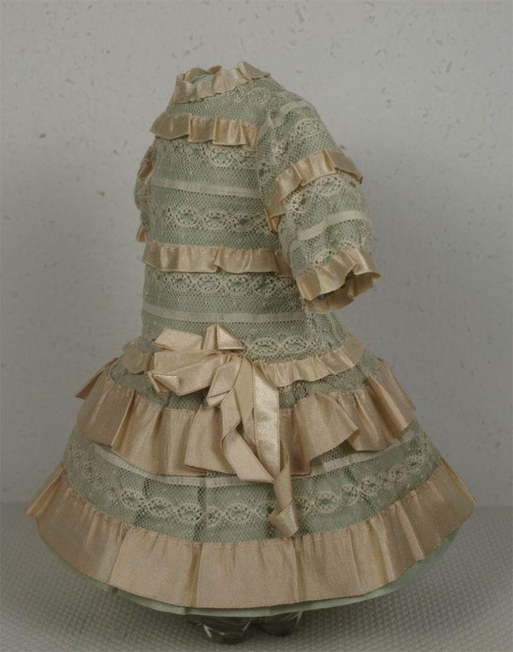 Wonderful Antique French Aqua Silk Taffeta BEBE Doll Dress   eBay
