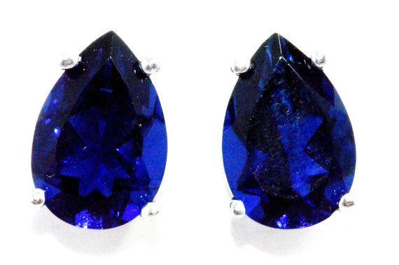 4 Carat Blue Sapphire Pear Stud Earrings by ElizabethJewelryInc, $32.99