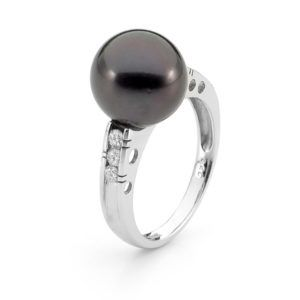 18ct White Gold, Tahitian Pearl, Diamond Ring - Shop our jewellery store in Port Fairy - Victoria, Australia.