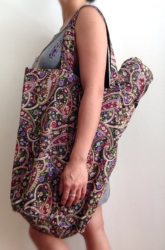 Reversible tote bag with matching yoga mat bag by YogaTotesSydney, $89.00