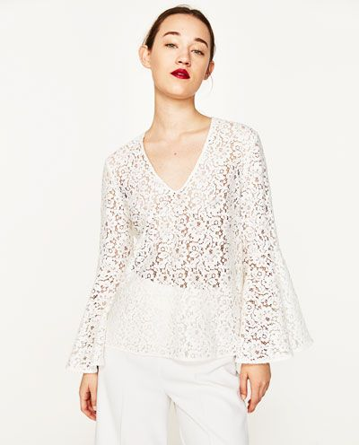 Image 2 of LACE BLOUSE WITH BELL SLEEVES from Zara