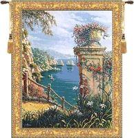 Capri Vista Belgian Wall Tapestry W-4979, 30-39Incheswide, 39W, 40-49Inchestall, 48H, 50-59Incheswide, 52W, 60-69Inchestall, 65H, Belgian, Blue, Bob, Border, Capri, Coast, Collection, Gold, Green, Italian, Pejman, Tapestry, Vertical, Vista, Wall, Yellow, Belgianwoven, Europeanwoven, Italiancoast, tapestries, tapestrys, hangings, and, the