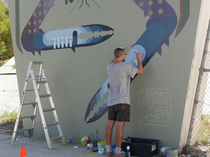 @sherriewilsonprojects  #amokisland #fremantle #freo #mural #streetart  http://www.sherriewilsonprojects.com/projects/underline_|_rail_bridge_project/