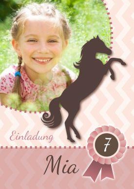 Tolle Einladung Zum 7. Geburtstag Für Echte Pferde Freundinnen! Einfach  Foto Und Text