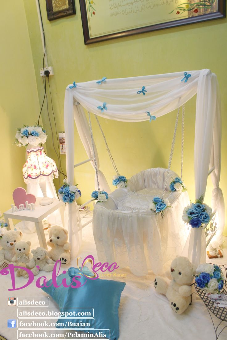 Simple and sweet Decoration baby cradle for naming ceremony. Pelamin buaian berendoi, cukur jambul dan full pakej aqiqah www.alisdeco.blogspot.com Wasap 012-3550657