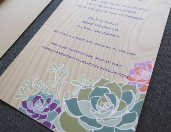 Colorful Succulents Wedding Invitations Final by crescentmoonpaper