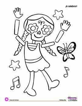 coloring page da de los muertos day of the dead dancin
