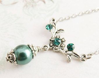 Teal bridesmaid necklace, teal pearl necklace, junior bridesmaid gift, flower girl necklace, bridal party gift