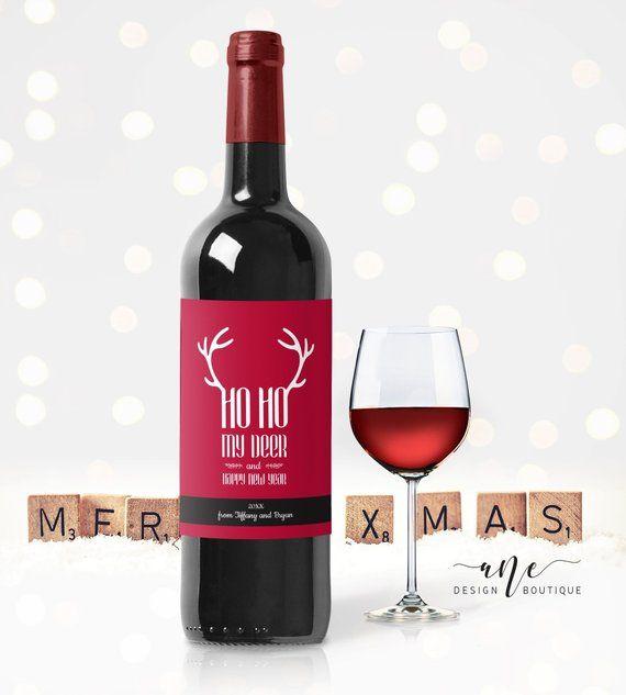 Printable Christmas Wine Label Template Editable Pdf