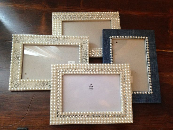 Decorated Picture Frames With Gems, Duck Tap And Stamps   Gift Idea?