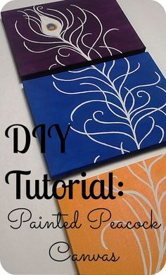 DIY ~ Three Canvas Peacock Art use different colors for the boards but simple template to make affordable but cute artwork