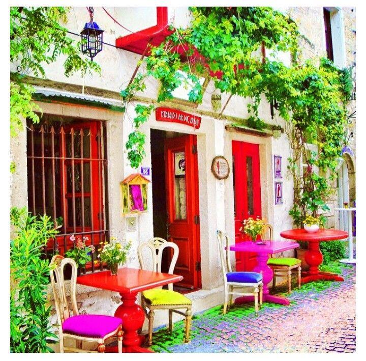 Alacati Cesme Turkey- colorful café
