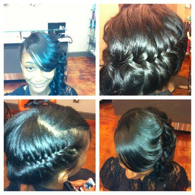 Natural silk press, fishtail braid style by Chantelle | Yelp
