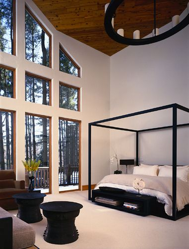Amazing bedroom....love the ceiling, windows and canopy bed