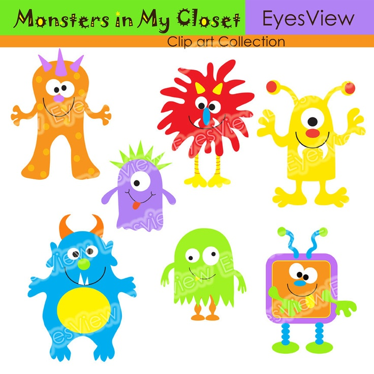 Clipart  Monsters In My ClosetDigital clip art for use for Cards, Stationary, digital, scrapbooking and Paper Products. $4.75, via Etsy.