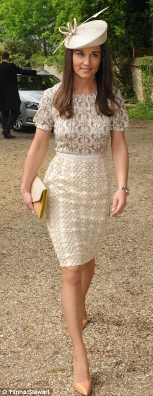 Pippa wore a dress by Tory Burch Adelaide dress and a hat by Whiteley Fischer a clutch by Tory Burch and heels by Kate Spade and a Project D watch.