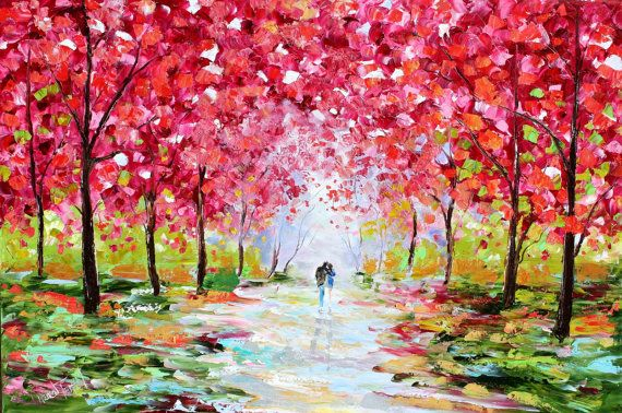 Original Oil Painting Spring  Romance Landscape by Karensfineart, $425.00