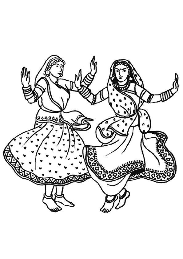 deux femmes hindi entrain d ex cuter la danse indienne dessin colorier coloriages de danse. Black Bedroom Furniture Sets. Home Design Ideas