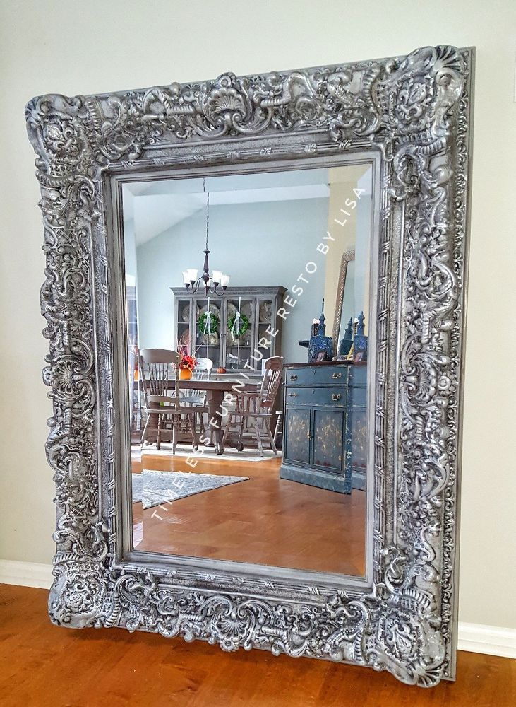 How To Paint An Ornate Mirror To Get An Updated Look Diy Ornate Mirror Mirror Frame Diy Old Mirrors