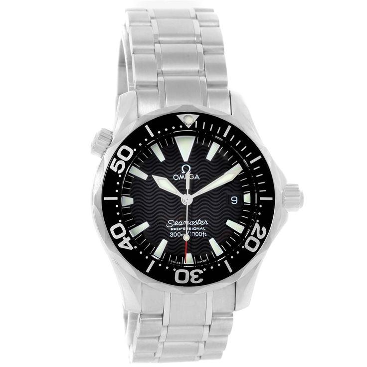 14705 Omega Seamaster Midsize Black Dial Steel Quartz Mens Watch 2262.50.00 SwissWatchExpo