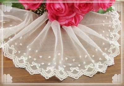 Lovely Off White Bowknot Embroidered Tull Lace Trim