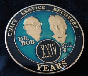 Alcoholics Anonymous 24 Year Anniversary Blue Tri Plate Medallion Bill w Dr Bob | eBay