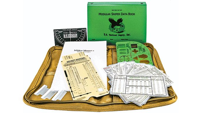 The sniper One-Shot Packages from US Tactical Supply features a waterproof modular data book with conversion tables and range estimation charts.
