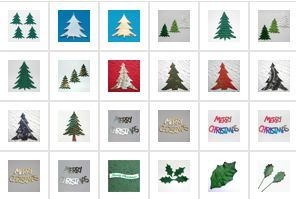 MERRY CHRISTMAS mulberry paper & card die cut TOPPER holly TREES poinsettia TEXT | eBay