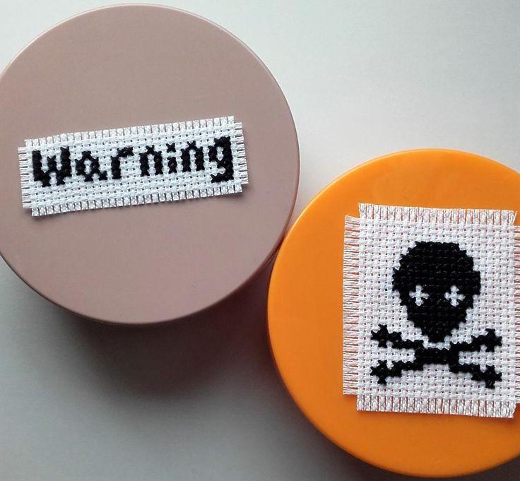 Warning signs cross stitch pattern