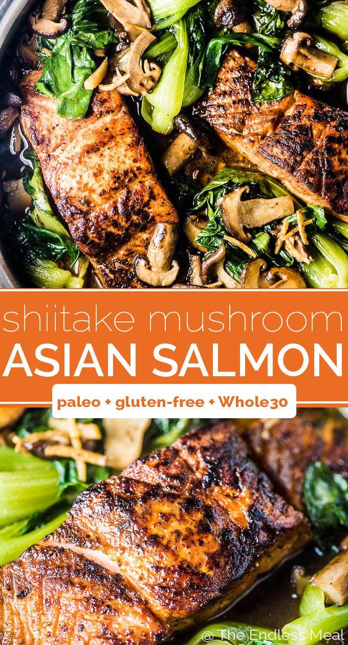 Asiatischer Shiitake-Lachs mit Bok Choy