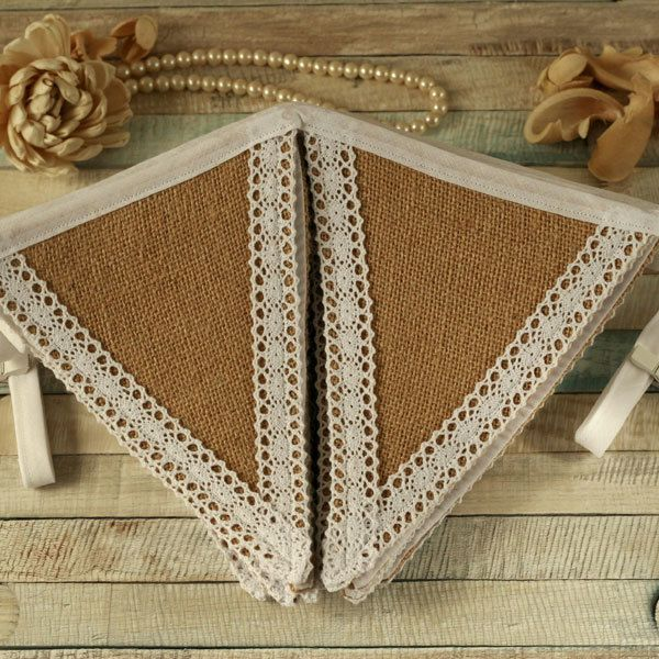Hessian and lace bunting, burlap fabric garland, rustic wedding decoration £28.00